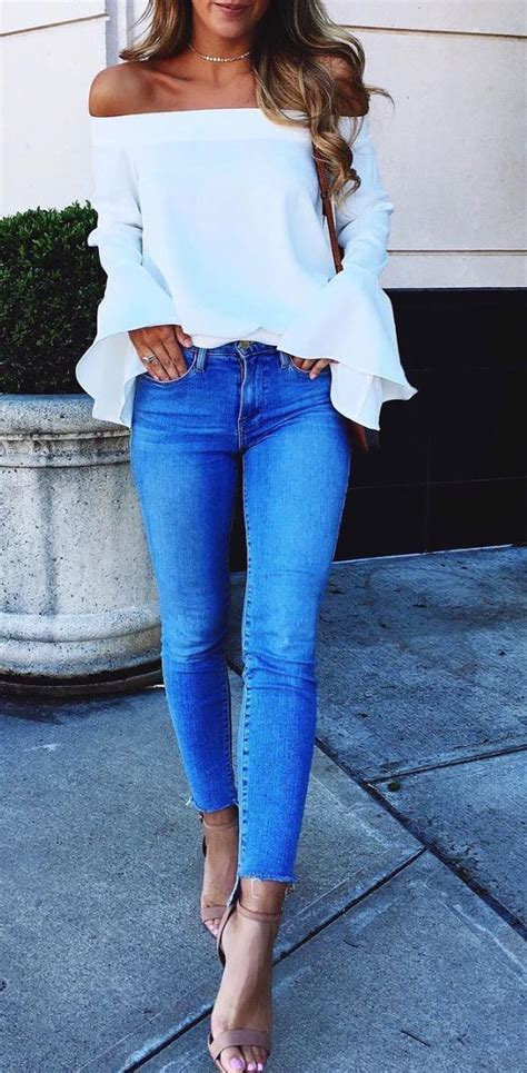 summer dressing style for thin women in printrest white ruffle off the shoulder top and skinny step hem
