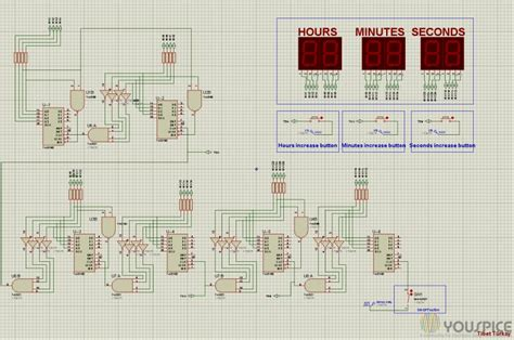 digital clock without microcontroller youspice