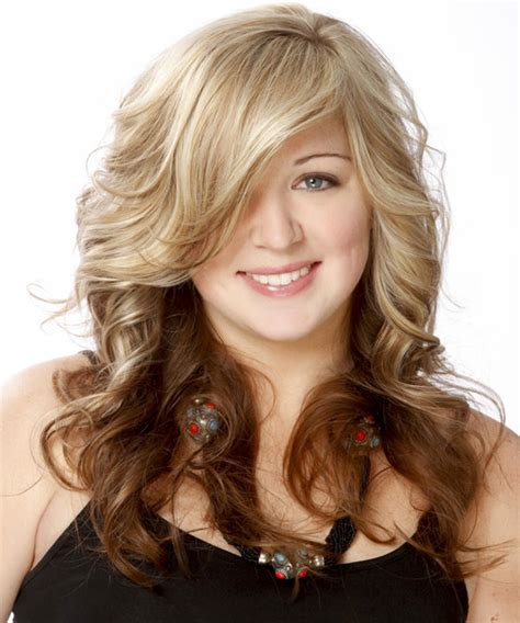 two toned hairstyles blonde underneath long wavy formal hairstyle with side swept bangs medium
