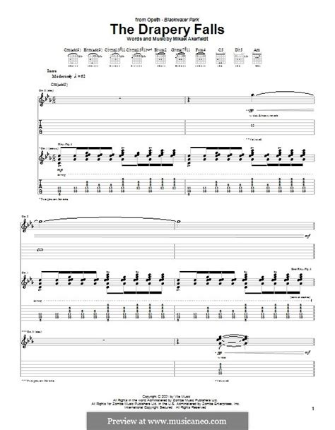 the drapery falls opeth the drapery falls opeth by m akerfeldt sheet music on