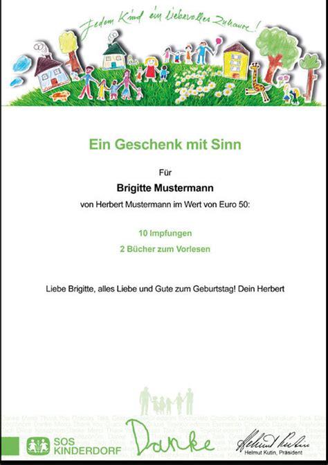 Jahresbericht Schreiben Muster Geschenkurkunde Sos Kinderdorf