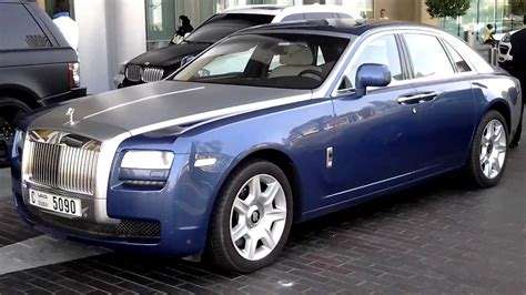 roll royce ghost blue blue silver rolls royce ghost parking at dubai mall valet