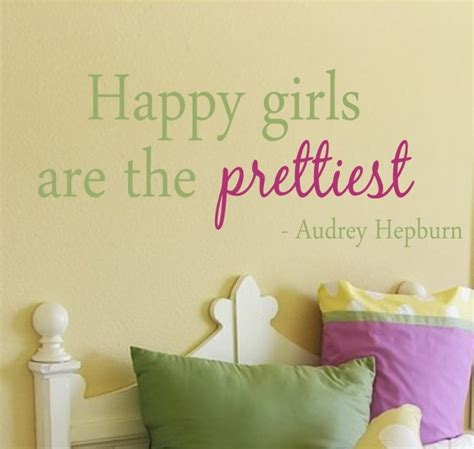wall stickers for teenage girl bedrooms happy girls are the prettiest quote vinyl wall decal