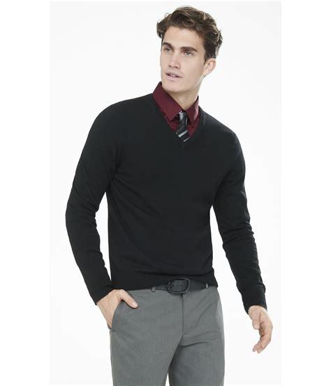 Sweater V Neck Lyst Express Merino Wool V Neck Sweater In Black For