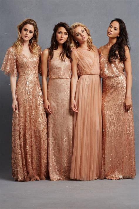 Rose gold sequin bridesmaid dresses