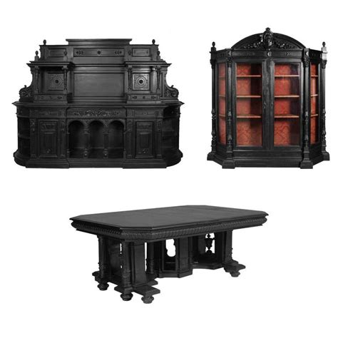 Vicenza Dining Set 18th century set antique palladio dining room ebonized carved walnut for sale at 1stdibs