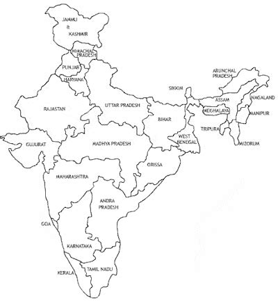 India Political Map Outline With States by Average Expectancy In India And Indian States Disabled World