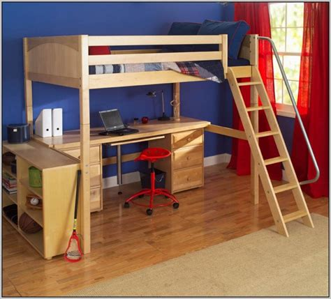 loft bed desk wooden loft bed with desk most recommended space