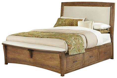 upholstered king bed with storage vaughan bassett transitions king upholstered bed with 1