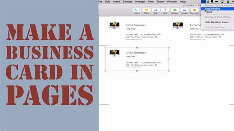 how to make business cards on a mac how to create a business card in pages for mac 2014