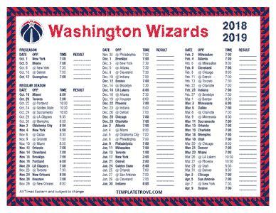 printable   washington wizards schedule
