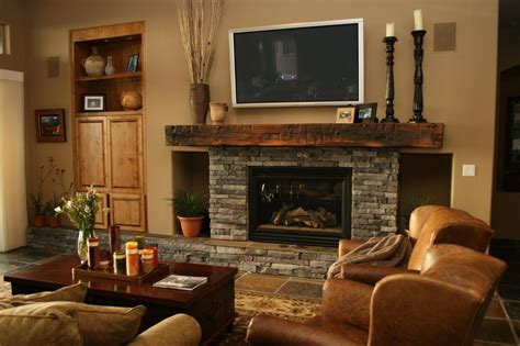 8 great home decor ideas grey stone fireplace with dark brown wooden mantel shelf