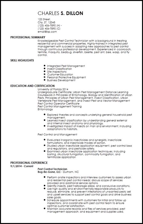 lab tech resume sample for free pest control resume sample resume