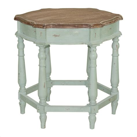 Green Accent Table Pulaski Accents Aged Cherry Mint Green End Table Ebay