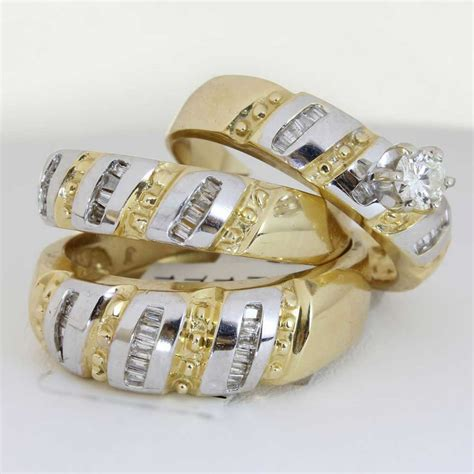 Wedding Ring Sets by 1 25ct Tcw 18k Two Tone Gold Trio Ring Set 9005411 Shop