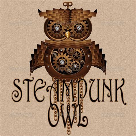 mechanical owl tattoo design steunk owl style mechanical toy graphicriver