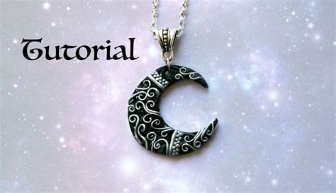 how to make polymer clay jewelry ornate crescent moon diy pendant polymer clay jewelry
