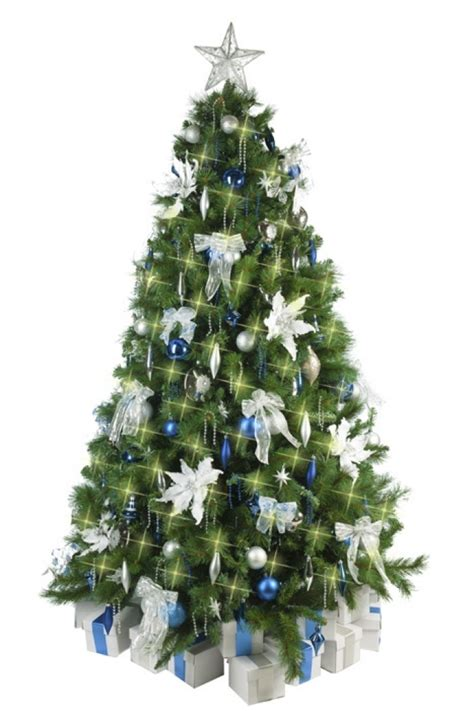 christmas tree decoration blue and silver christmas tree