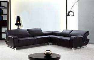 Modern L Sofa L Shaped Black Leather Sectional Sofa With Adjustable