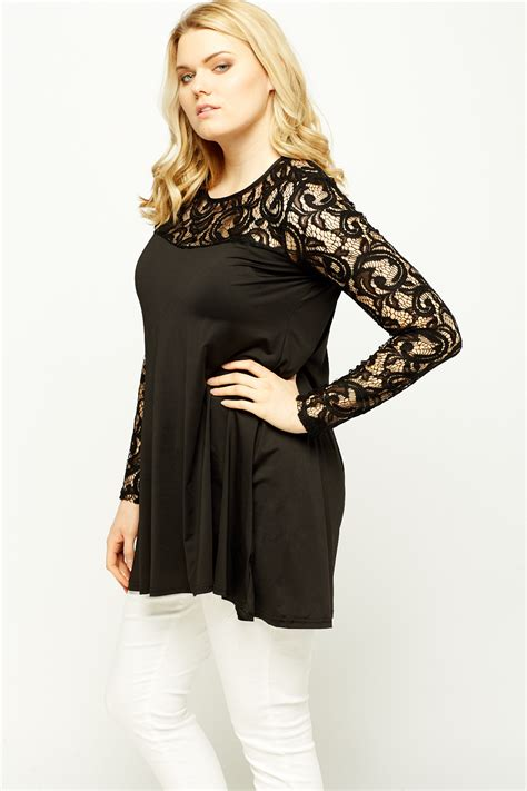 swing tops with sleeves lace sleeve swing black top just 163 5