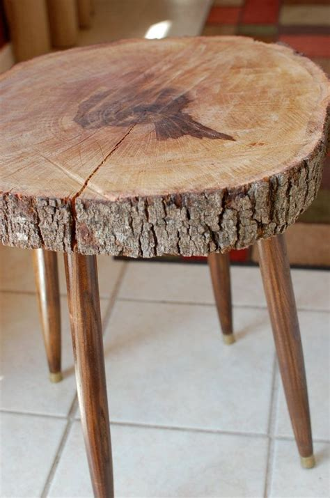 how to a table from a tree slice wood stump side table large tree slice mid century modern