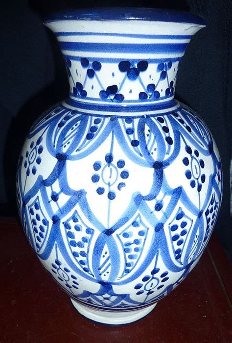 Morrocan Vase by Blue And White Morrocan Vase Signed From