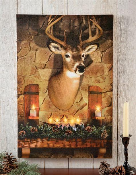 lighted deer lighted deer evergreen hanging canvas wall