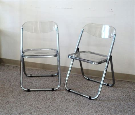Folding Lucite Chairs - pair of italian chrome lucite folding chairs