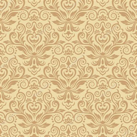Beige Damask Background With Gold Ribbon Vector Illustration Stock Vector Colourbox » Home Design 2017