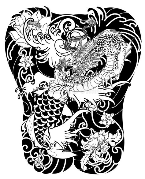 hand drawn dragon and koi fish with flower tattoo for arm