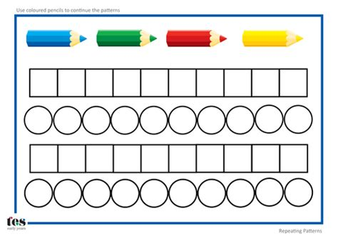 pattern continuation worksheet repeating pattern templates by tesearlyyears teaching