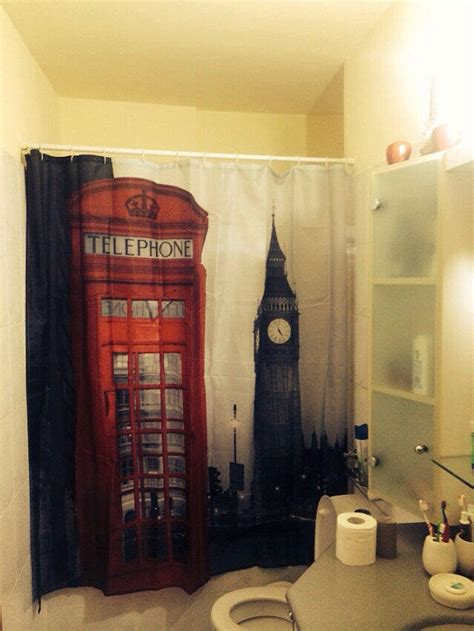 london themed bathroom decor london phone booth shower curtain shower from gmarketing on etsy