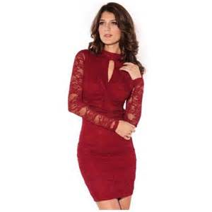 Wow clothes women s sexy knot front lace long sleeve cocktail evening