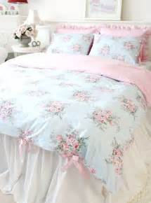 shabby chic cottage floral quilt duvet cover set blue pink check ties queen size country decor
