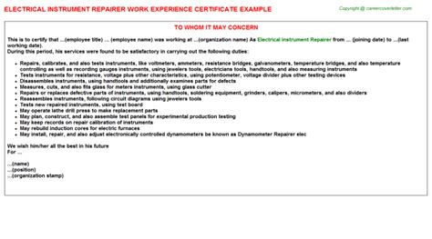 Experience Letter Of Electrician Electrical Work Experience Certificates
