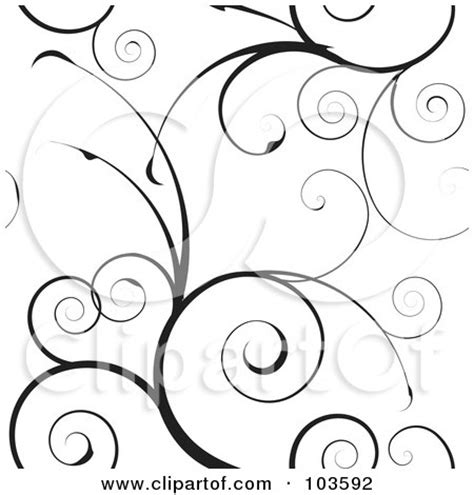 black and white vine pattern royalty free rf clipart illustration of a black swirly