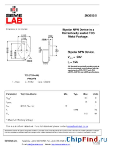 datasheet transistor npn 2n3055 2n3055 5 semelab screening options available polarity npn package to3 to204aa