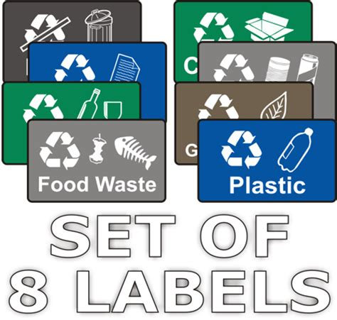 printable recycle label recycling stickers set of 8 labels wheelie rubbish signs