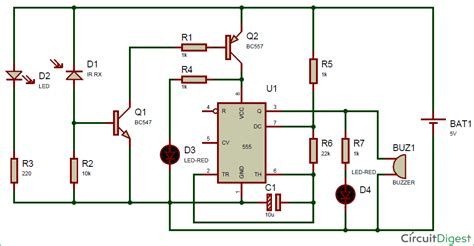 ir infrared detector circuit diagram using 555 timer ic