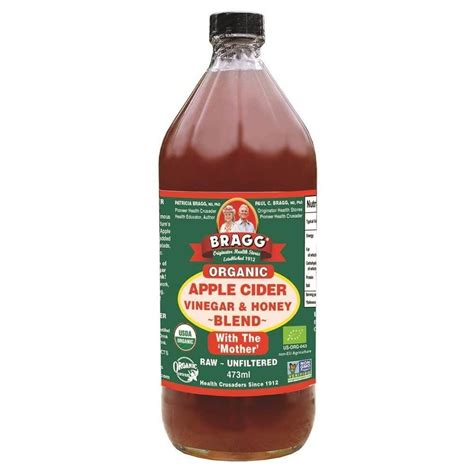 Organic Honey And Apple Cider Vinegar Detox by Bragg Organic Apple Cider Vinegar Honey Blend 473ml