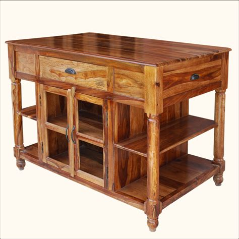 47 Quot Wood Butcher Top Storage Drawers Cabinets Kitchen Cart Kitchen Table With Storage Cabinets