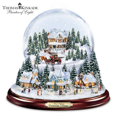 thomas kinkade illuminated musical christmas snowglobe