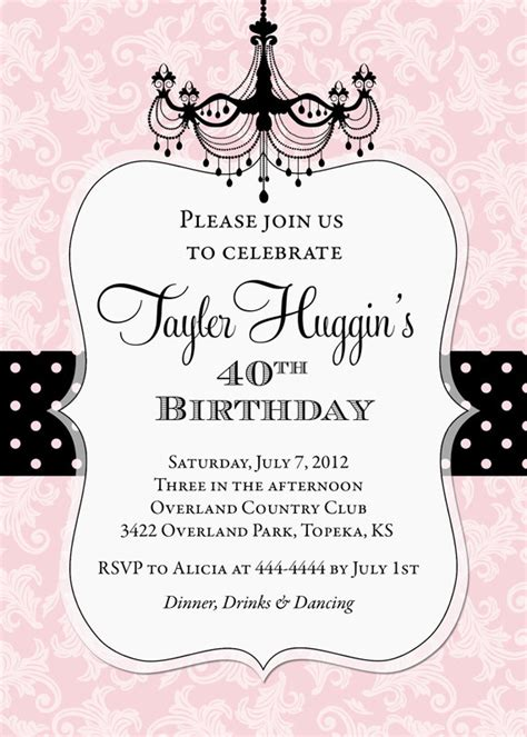 chandelier birthday invitation printable any colors by pop catch my