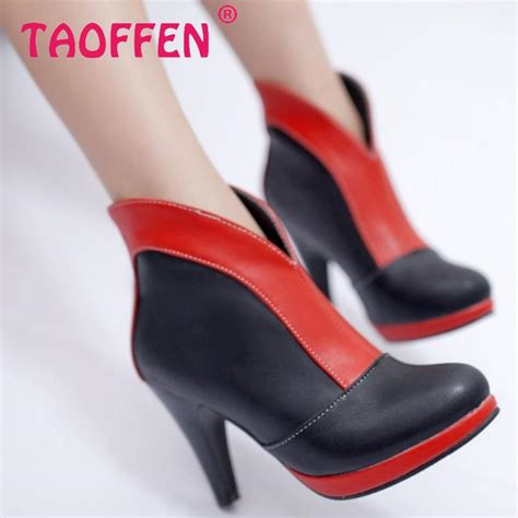 Sepatu Boots Pendek Wanita ukuran 32 48 wanita hak tinggi setengah ankle boots pendek