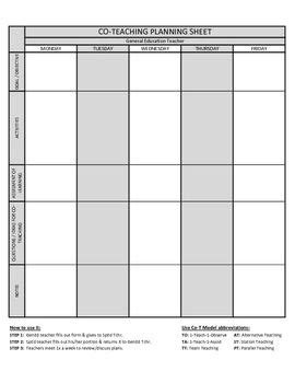 Co Teaching Planning Template Version 2 Of 3 Co Teaching Pinterest Teaching Co Teaching Co Teaching Lesson Plan Template
