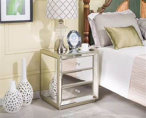mirror side tables bedroom home living furniture mirrored bedside table mirrored
