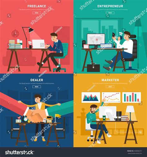 art design entrepreneurship flat design concept coworking center worker stock vector