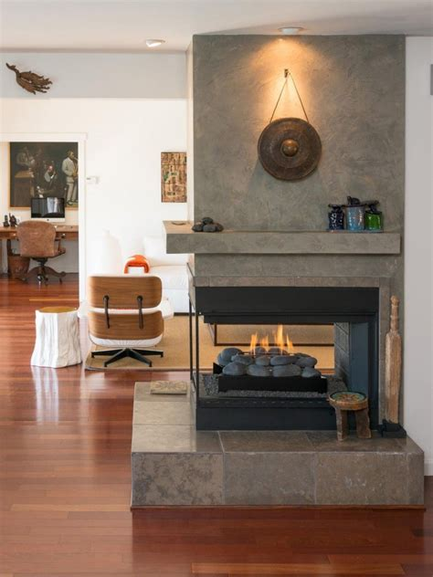 Room Division Is A Breeze With Two Sided Fireplace Open Sided Fireplace Design