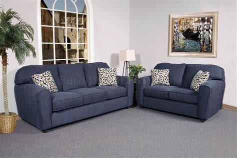 blue couch set blaze navy fabric modern sofa loveseat set w options
