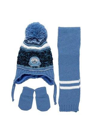 kalea   aylik erkek bebek atki bere eldiven seti mavi